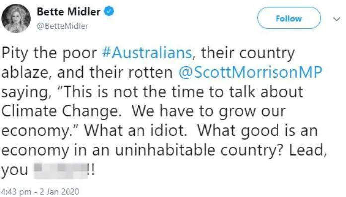Bette Midler's tweet about Scott Morrison