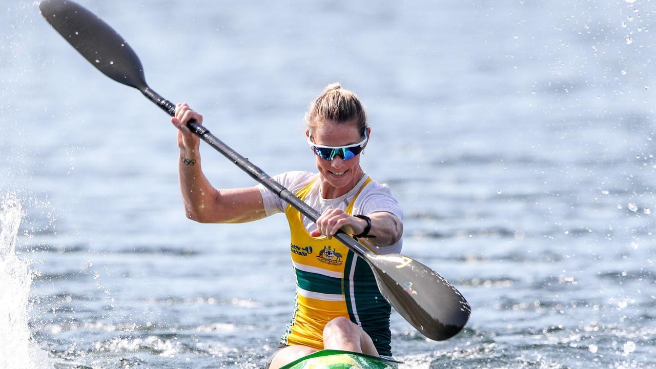 Alyce Burnett won the women's K1 5000 at the Canoe Sprint World Cup II in Duisburg, Germany. Photo: Bence Vekassy