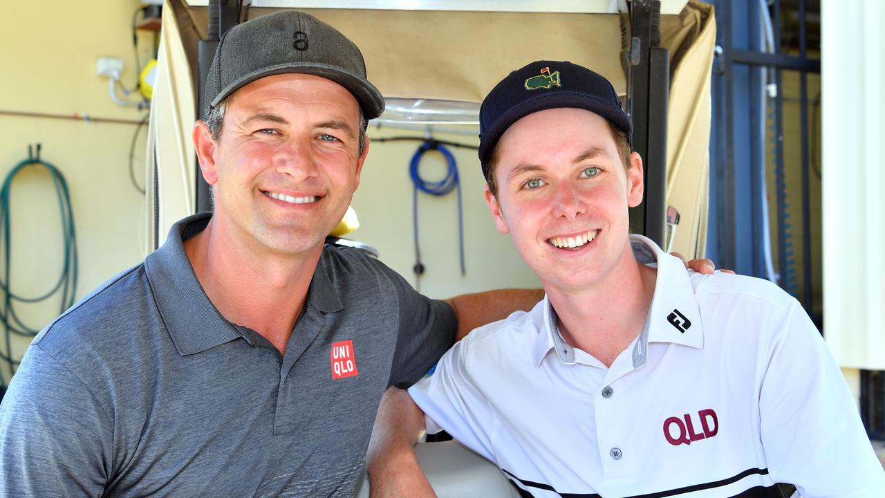 Professional golfer Adam Scott played a round of golf with Coast junior Bailey Arnott at Caloundra Golf Club. Photo: John McCutcheon