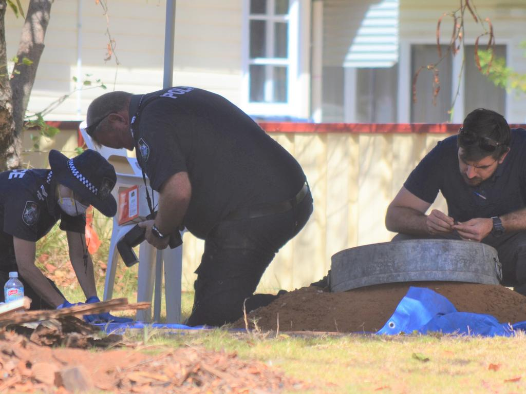 Police conducting a dig at the Chinchilla property
