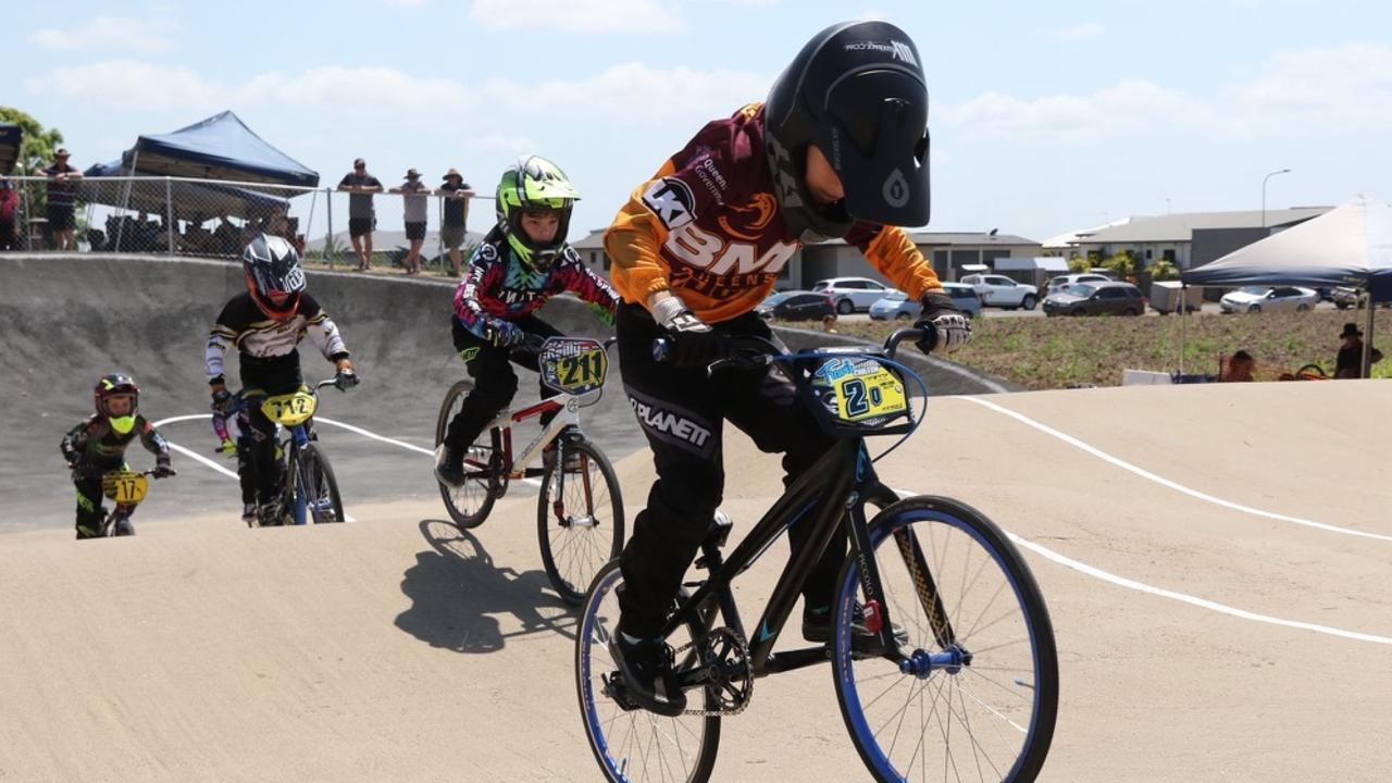Travis Chilton, 8, ahead of the pack at one of his competitions. Picture: Contributed