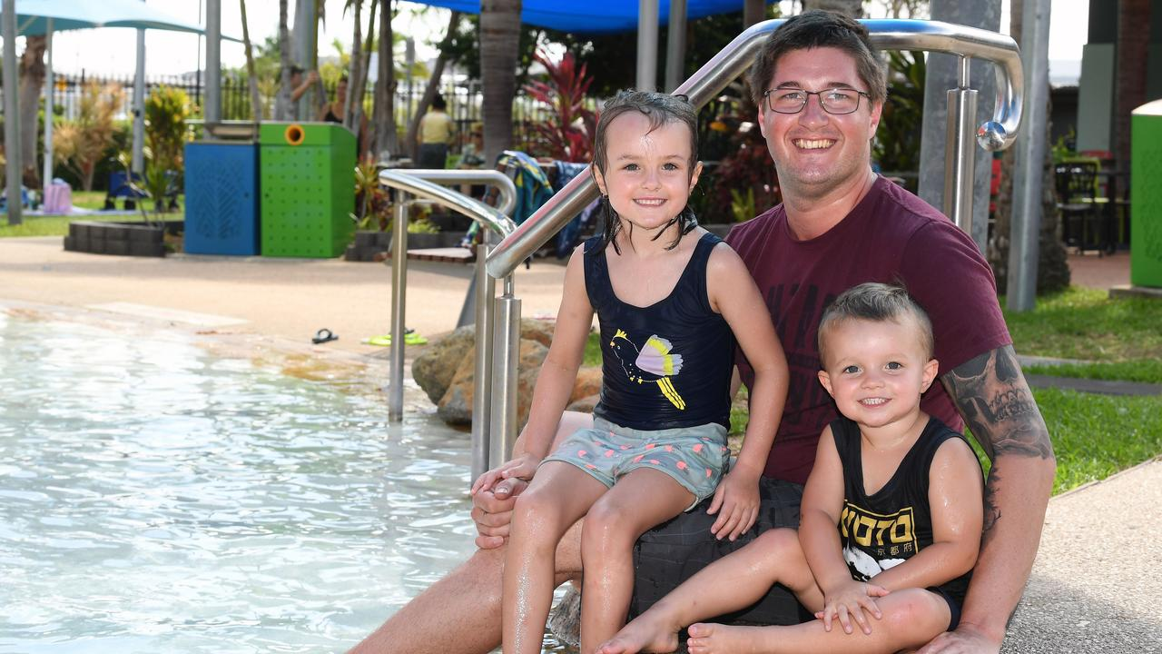 Elliot, 5, Hayden and Tobias Bourke, 3, spent the afternoon at the Blue Water Lagoon to celebrate Tobias birthday. Picture: Tony Martin