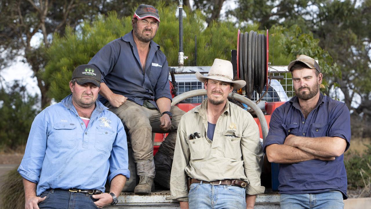 Jason Treloar, Paul Burgemeister, Nathan Laubsch and Dale Schulz have volunteered to help Kangaroo Island farmers with the difficult job. Picture: AAP / Emma Brasier