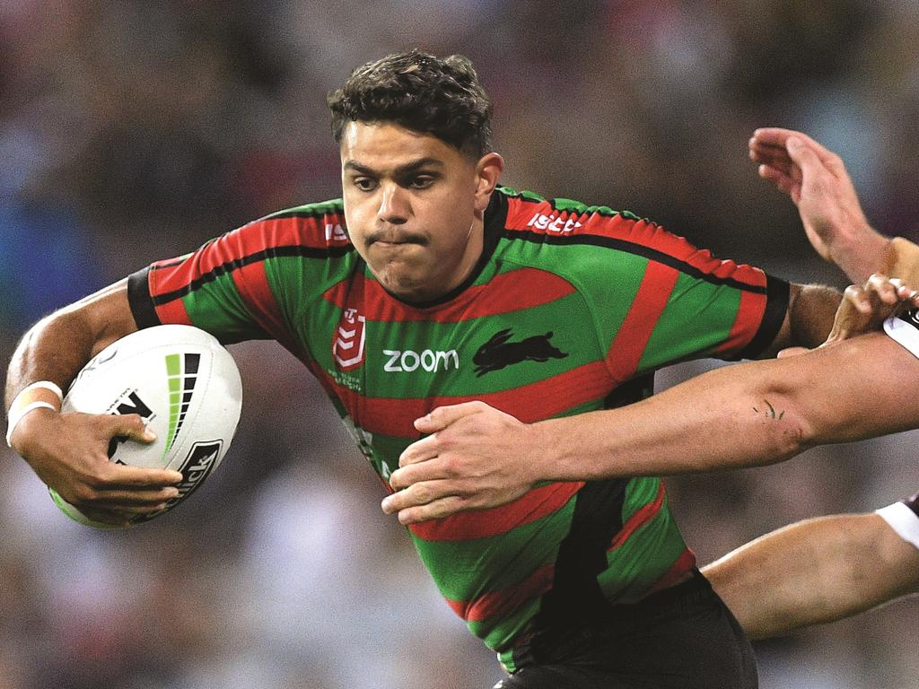 South Sydney fans get a glimpse of what Latrell Mitchell would look like in a Rabbitohs jersey.