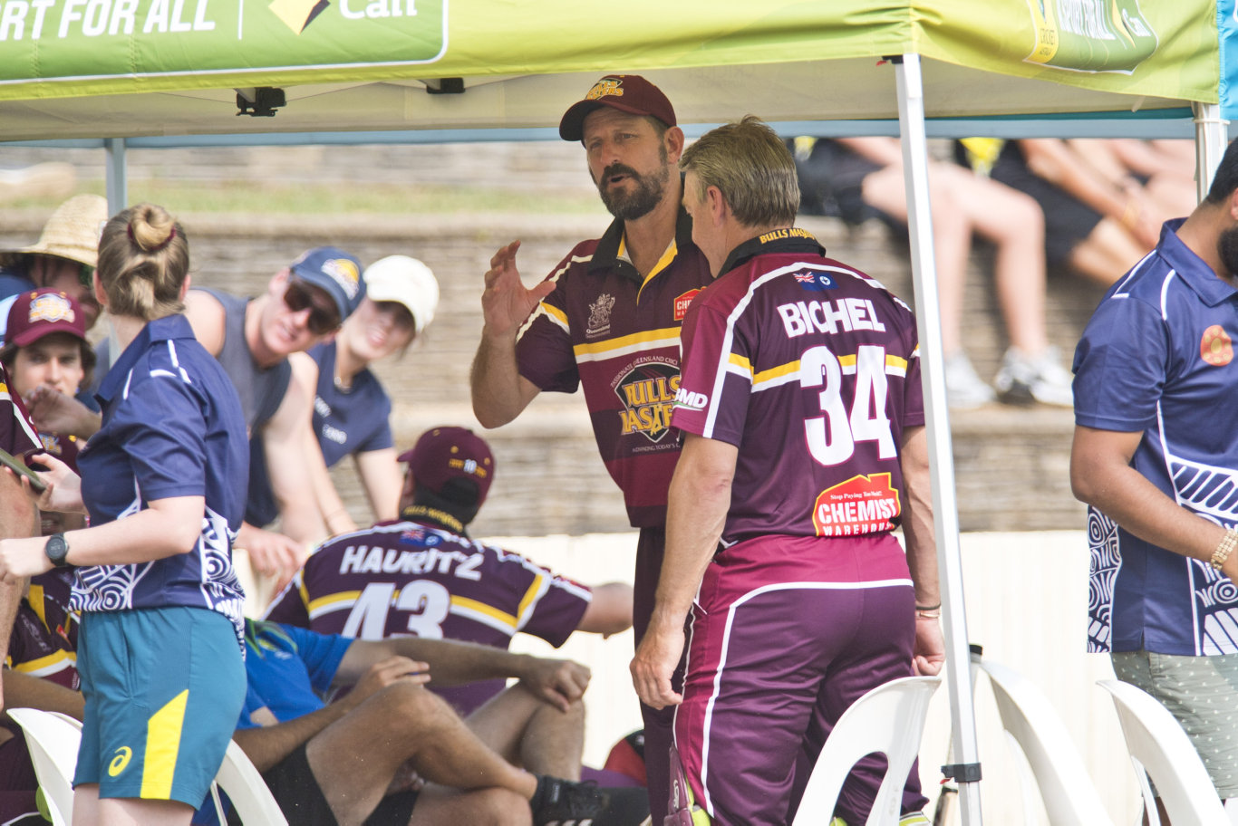 Bulls Masters players including Michael Kasprowicz and Andy Bichel during the game against the Australian Country XI in Australian Country Cricket Championships exhibition match at Heritage Oval, Sunday, January 5, 2020. Picture: Kevin Farmer