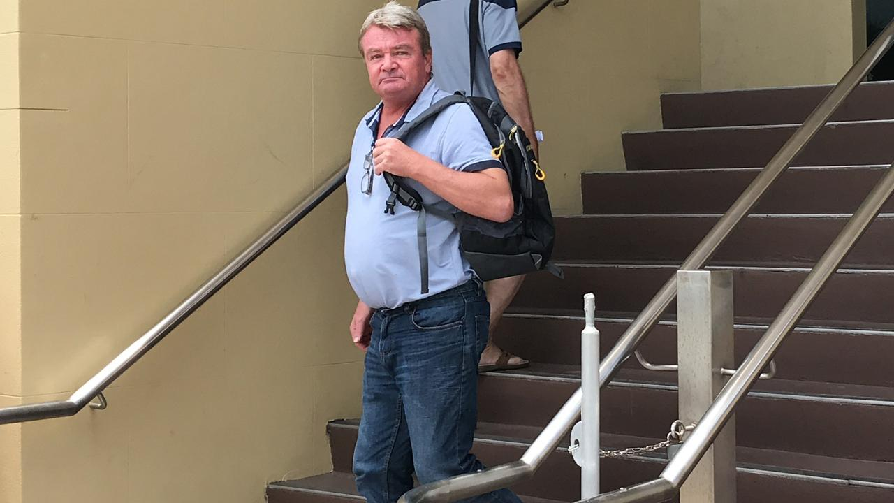 Father of three Scott Howard leaves Mackay courthouse after pleading guilty to breaking into a house owned by St Vincent de Paul Mackay and stealing whitegoods.