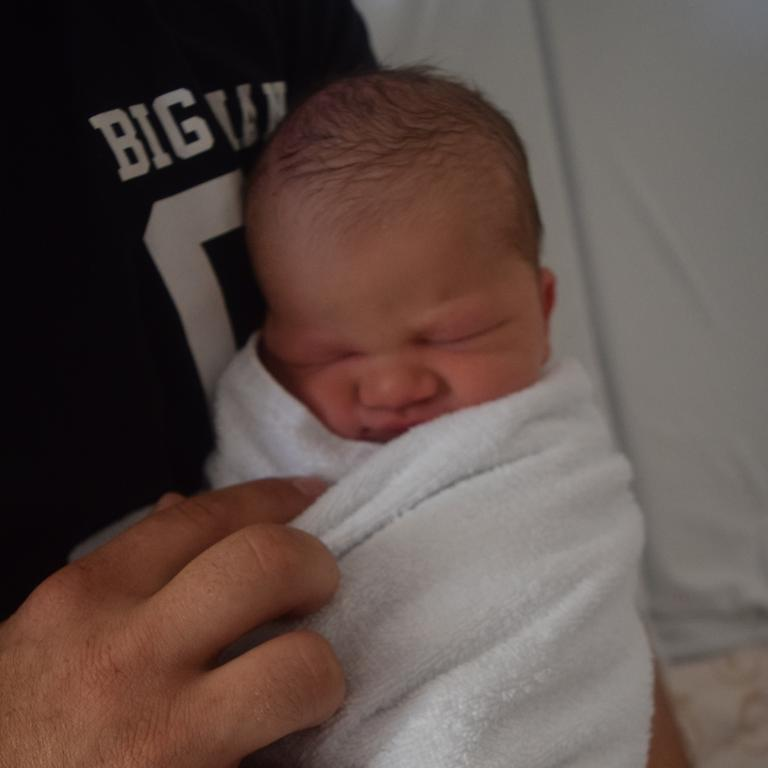 Clayton David John Jensen was born at 1.50pm on January 5, the first baby born at Emerald Hospital in 2020.