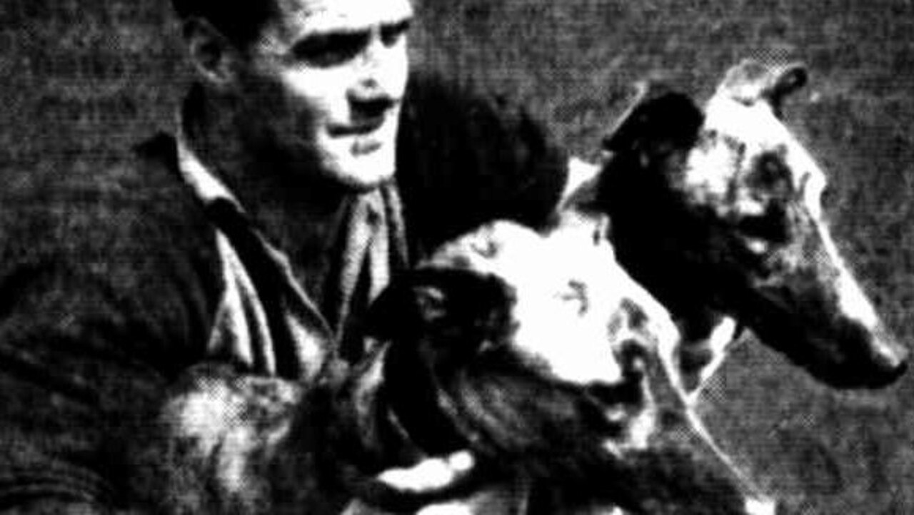 Champion greyhounds Manangal and Mardoonah. Trained by Malvern Cameron and pictured with Malvern Cameron's assistant trainer, Ricky Barker in 1947.