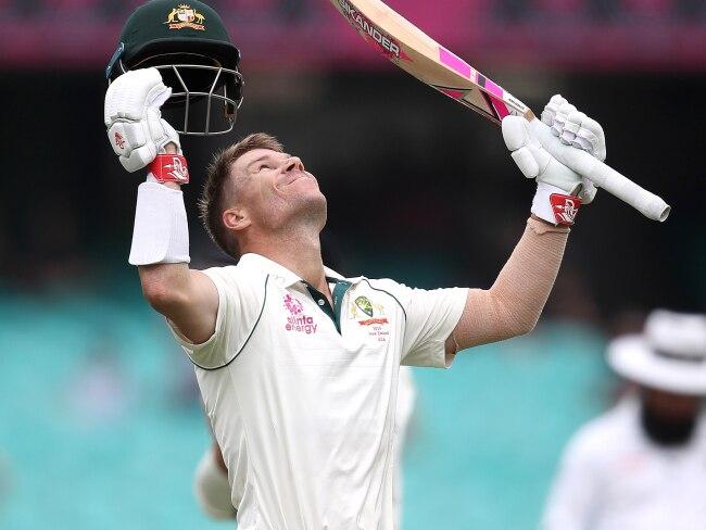 Australia's David Warner celebrates his century. Picture. Phil Hillyard