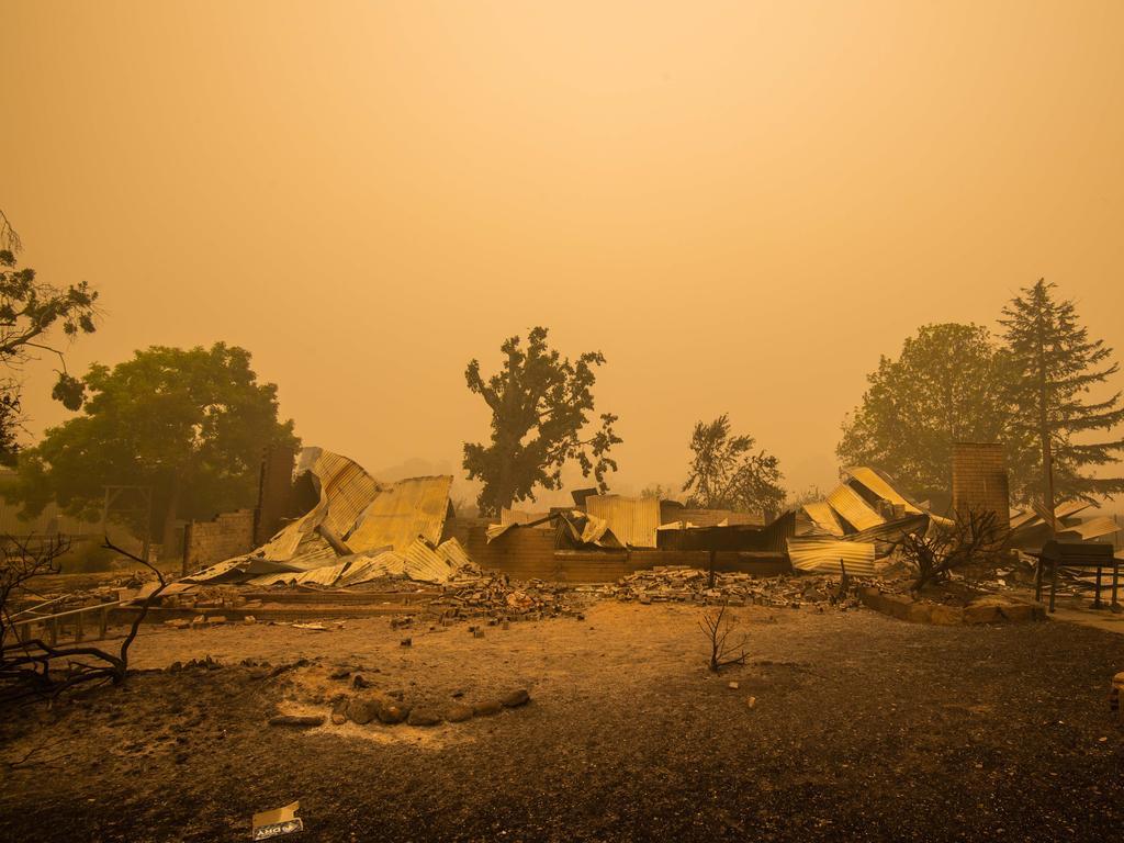 A razed property in Cudgewa, near Corryong. Picture: Jason Edwards