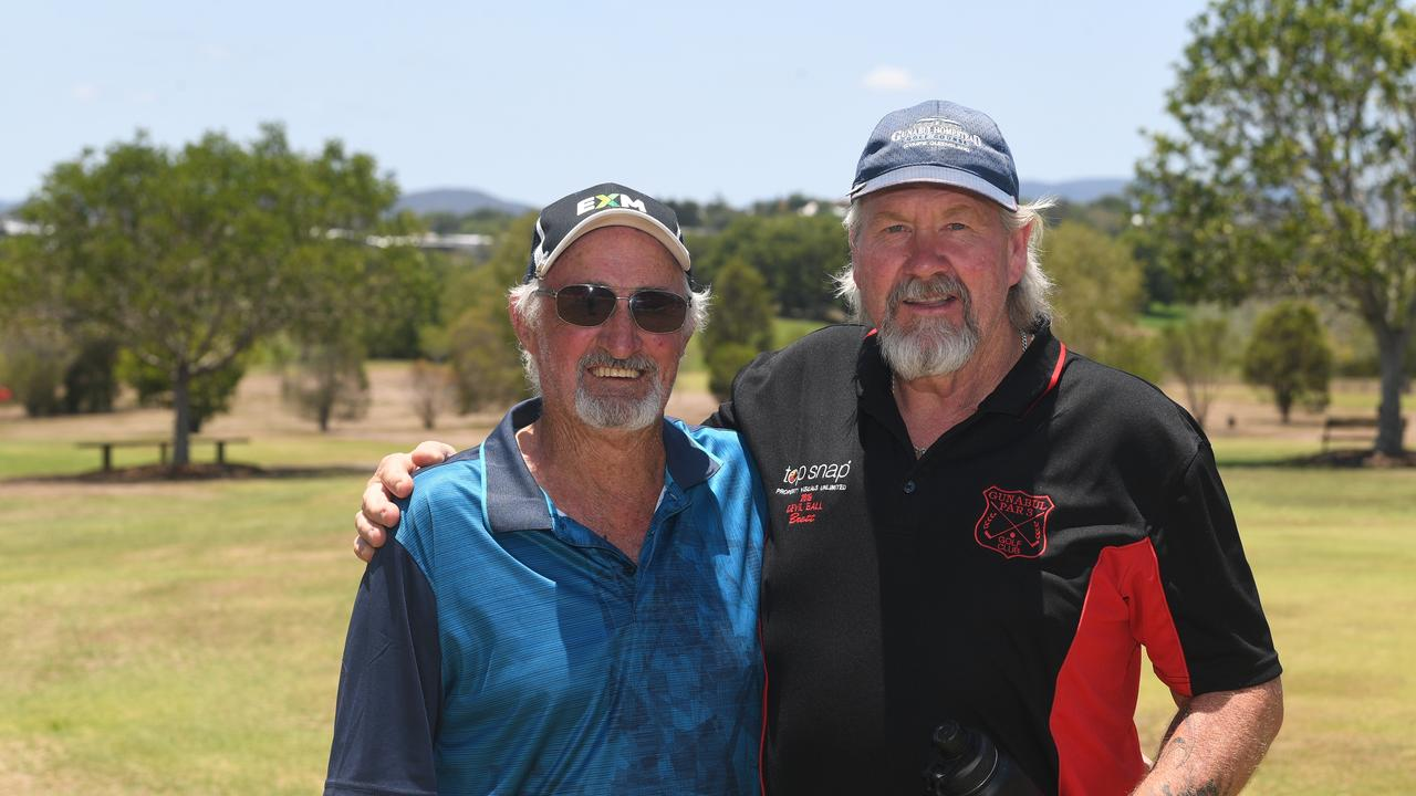 Rob Lumsden and Brett Groundwater at the Gunabul Par 3 Golf Course. Photo: Troy Jegers