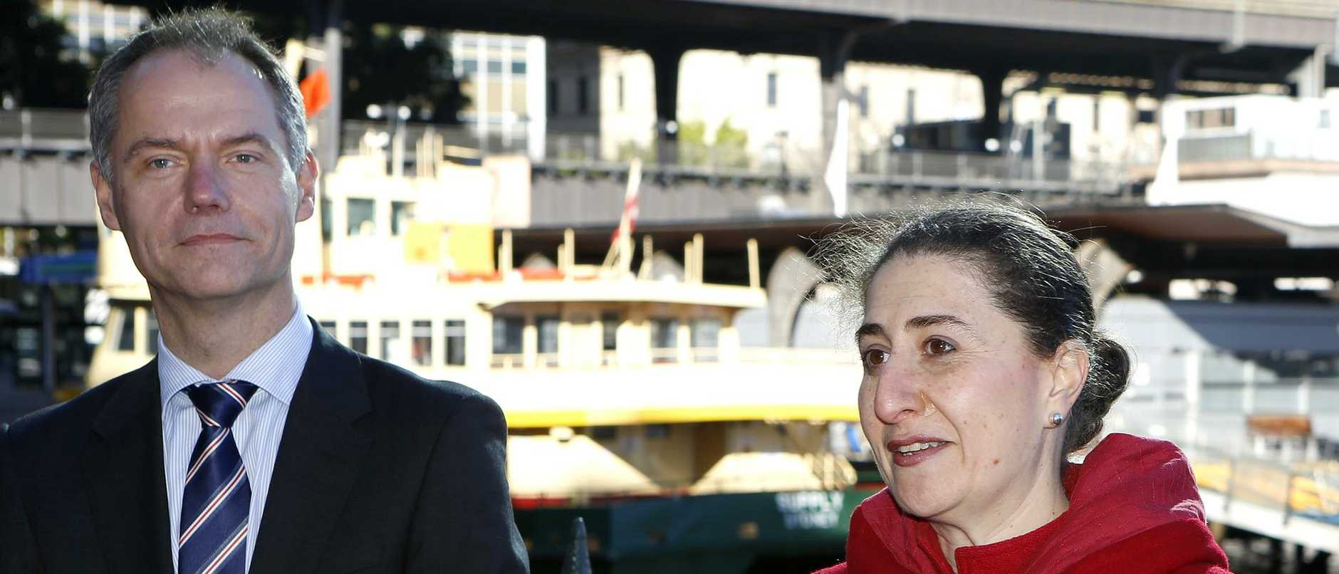 (L-R) Steffen Faurby, Gladys Berejiklian and Barry O'Farrell. Sydney Ferries is now under new private ownership. Harbour city ferries is a joint partnership between leading transport operators Transfield Services and Veolia Transdev Australia. Today is the first day of operation. Pic: Mitch Cameron