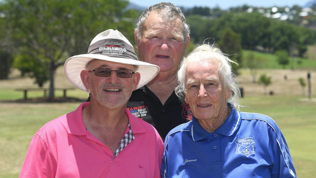 GOLFERS: Andrew Warden, Max Blackburn and Jeanne Price competed in the Stableford competition at the Gunabul Par 3 Golf Course on Saturday. Photos: Troy Jegers