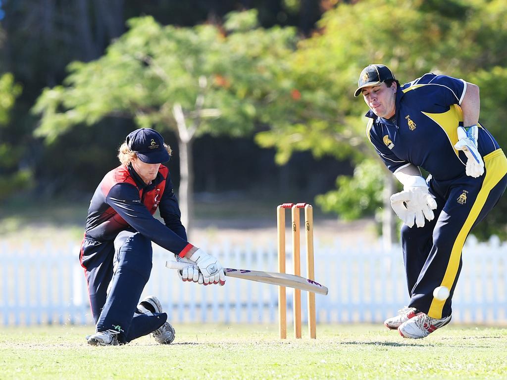 Maroochydore's Luke McInnes sweeps one down the leg side. Photo Patrick Woods / Sunshine Coast Daily.
