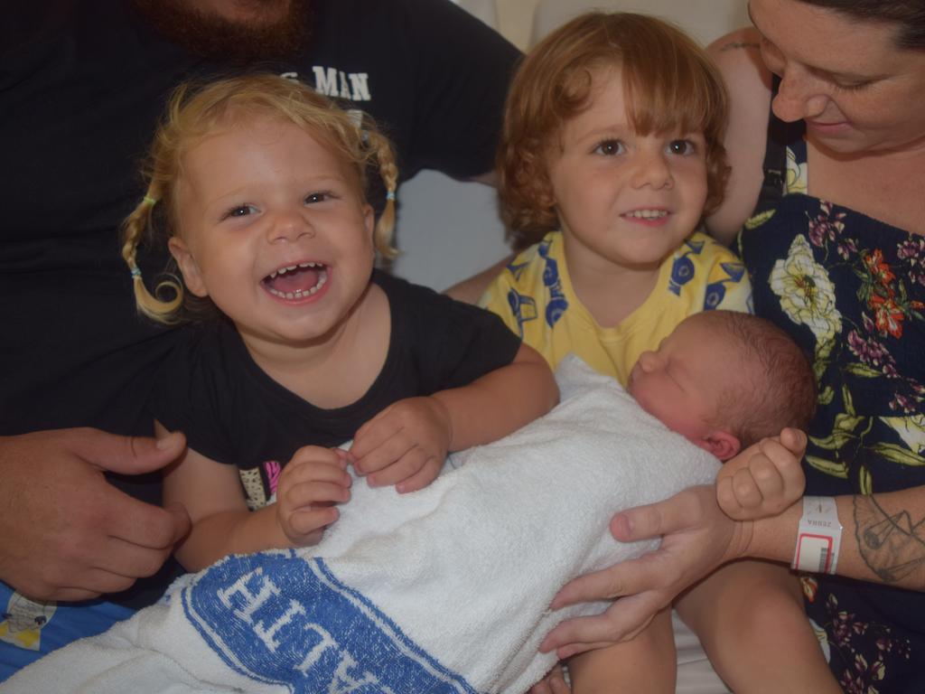 Clayton David John Jensen with siblings Marley, 2, and Bentley, 4.