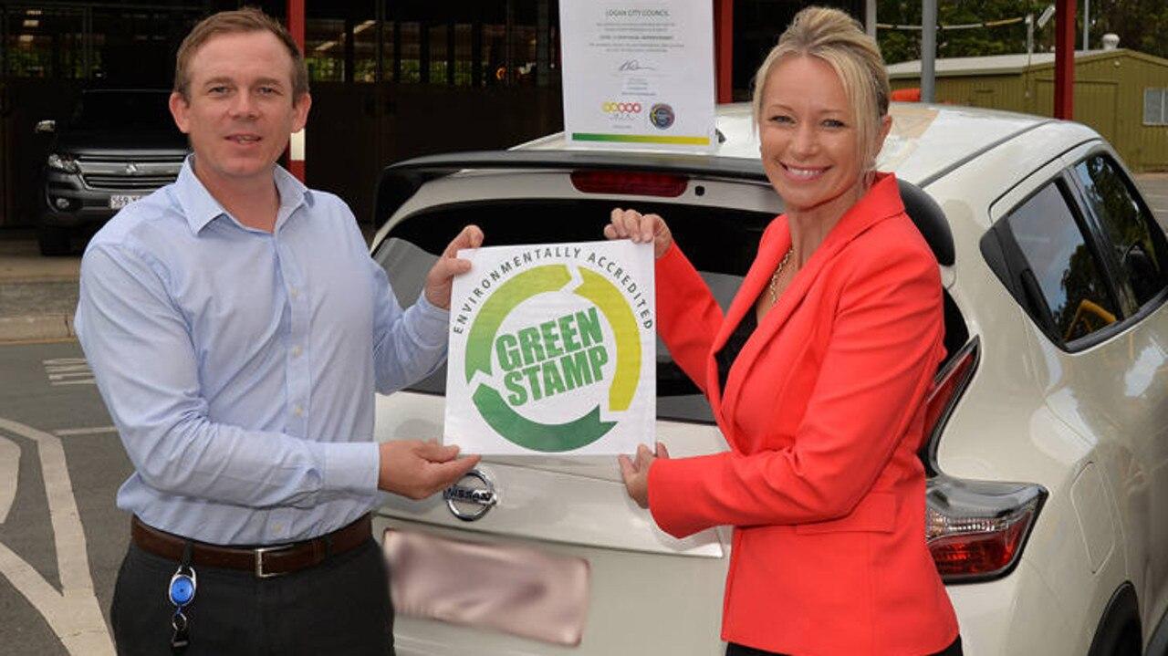 Former councillor Trevina Schwarz helps promote a green council car policy.