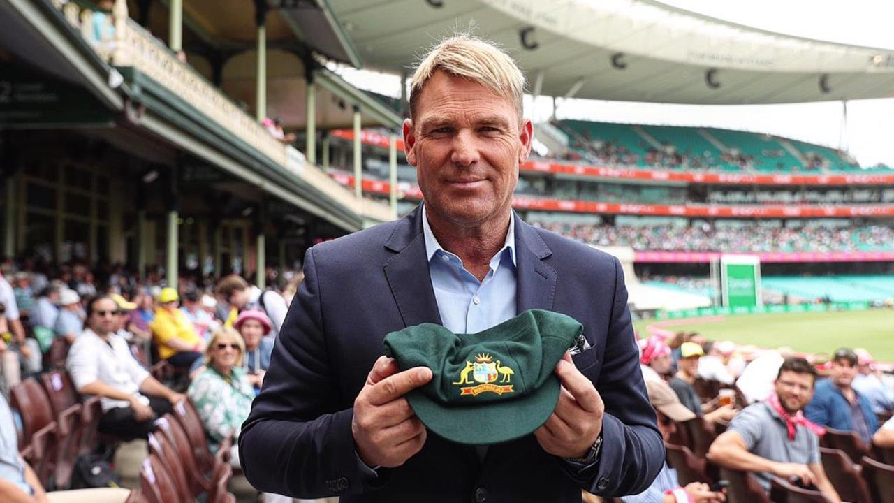 Shane Warne is auctioning off his baggy green cap.