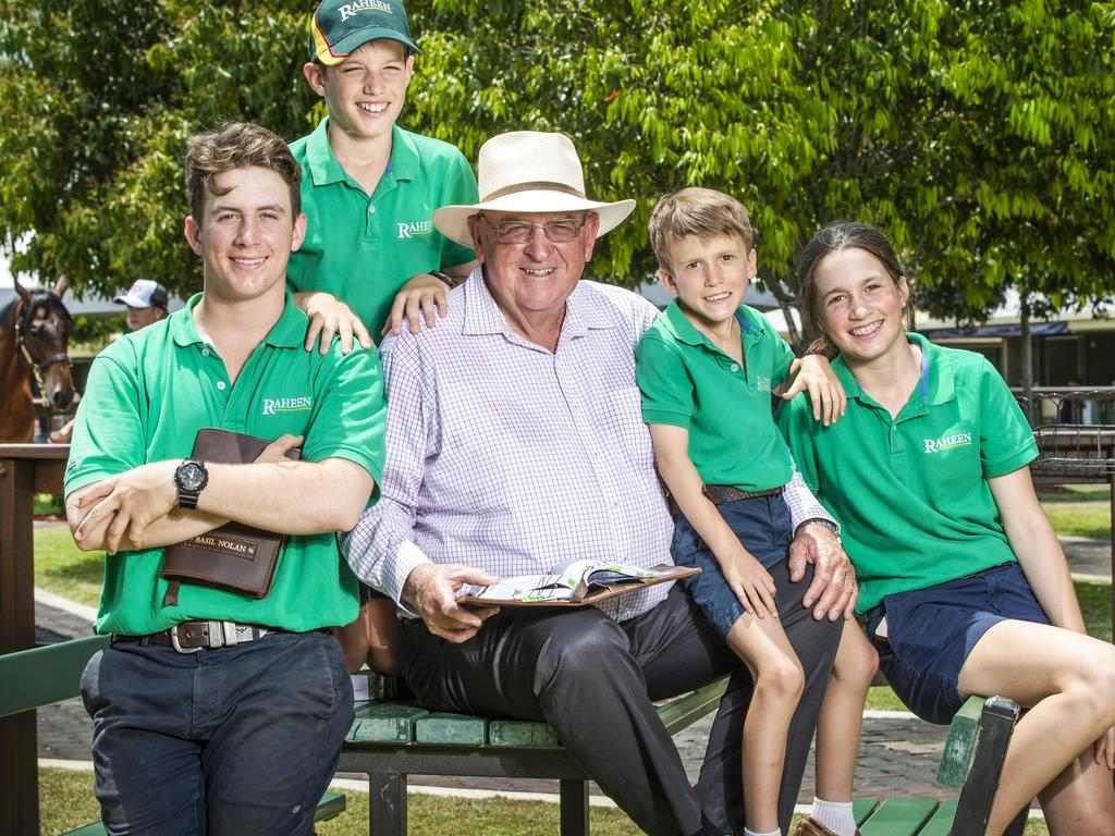 Basil Nolan Sr with his grandchildren Basil, 16, James, 11, William, 8, and Lily, 14, at the Magic Million sales. Picture: Nigel Hallett
