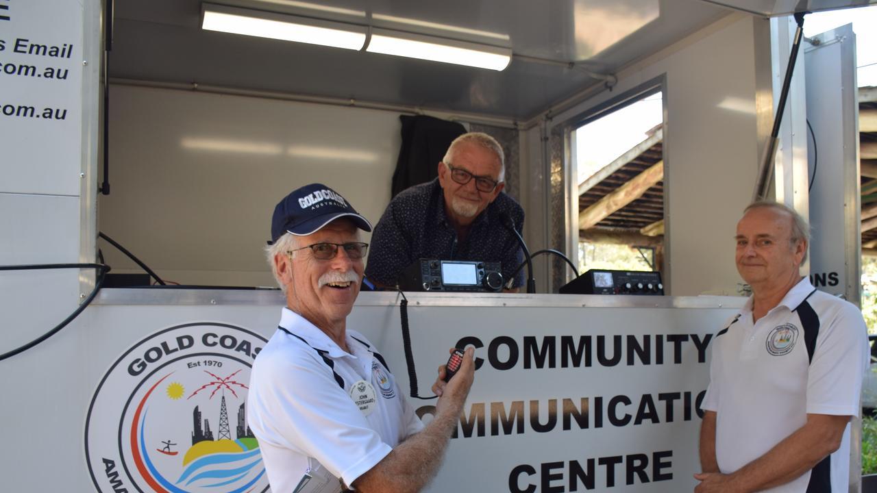 Gold Coast Amateur Radio Society members John Oestergaard, Ralf Finke and Brian McCarthy.
