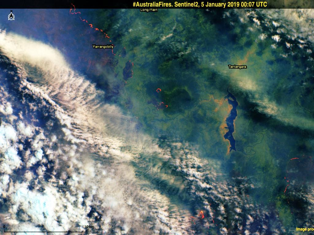 Despite clouds and smoke, the Sentinel 2 satellite was able to acquire this image, over the Snowy Mountains and Kosciuszko National Park area of New South Wales. Picture: Copernicus EMS
