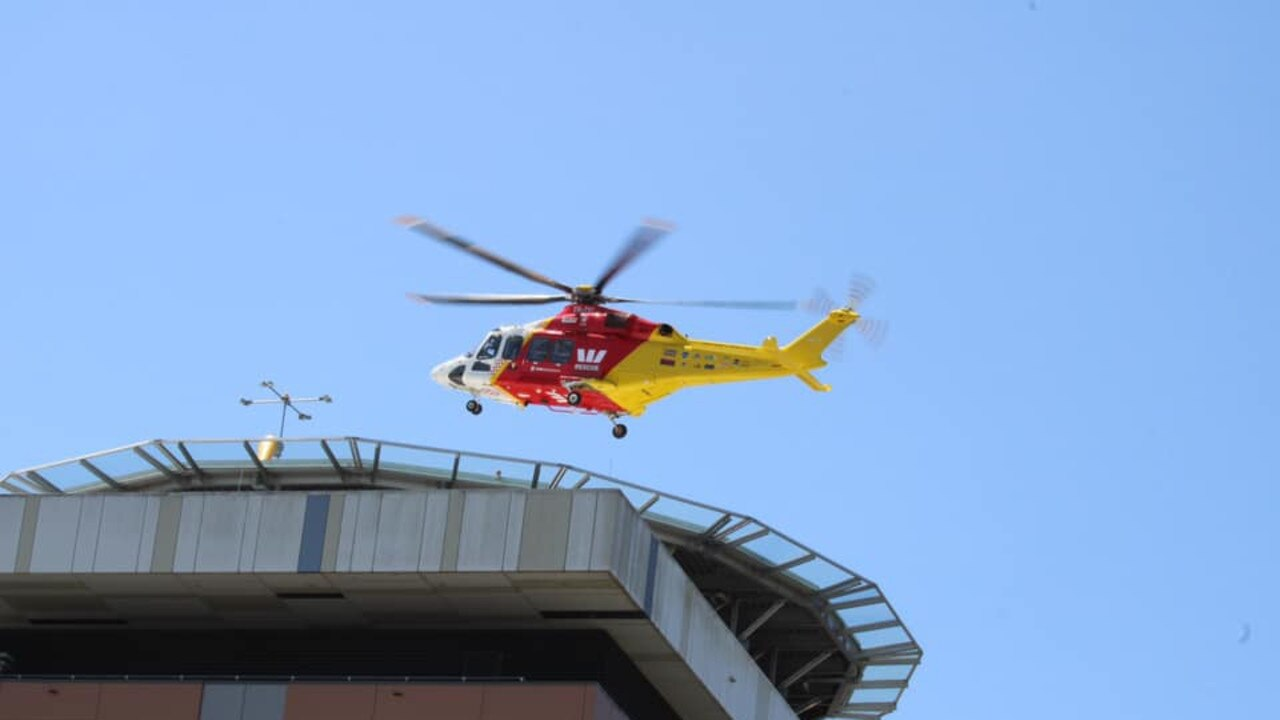 Westpac Life Saver Rescue Helicopter landing at Lismore Base Hospital.