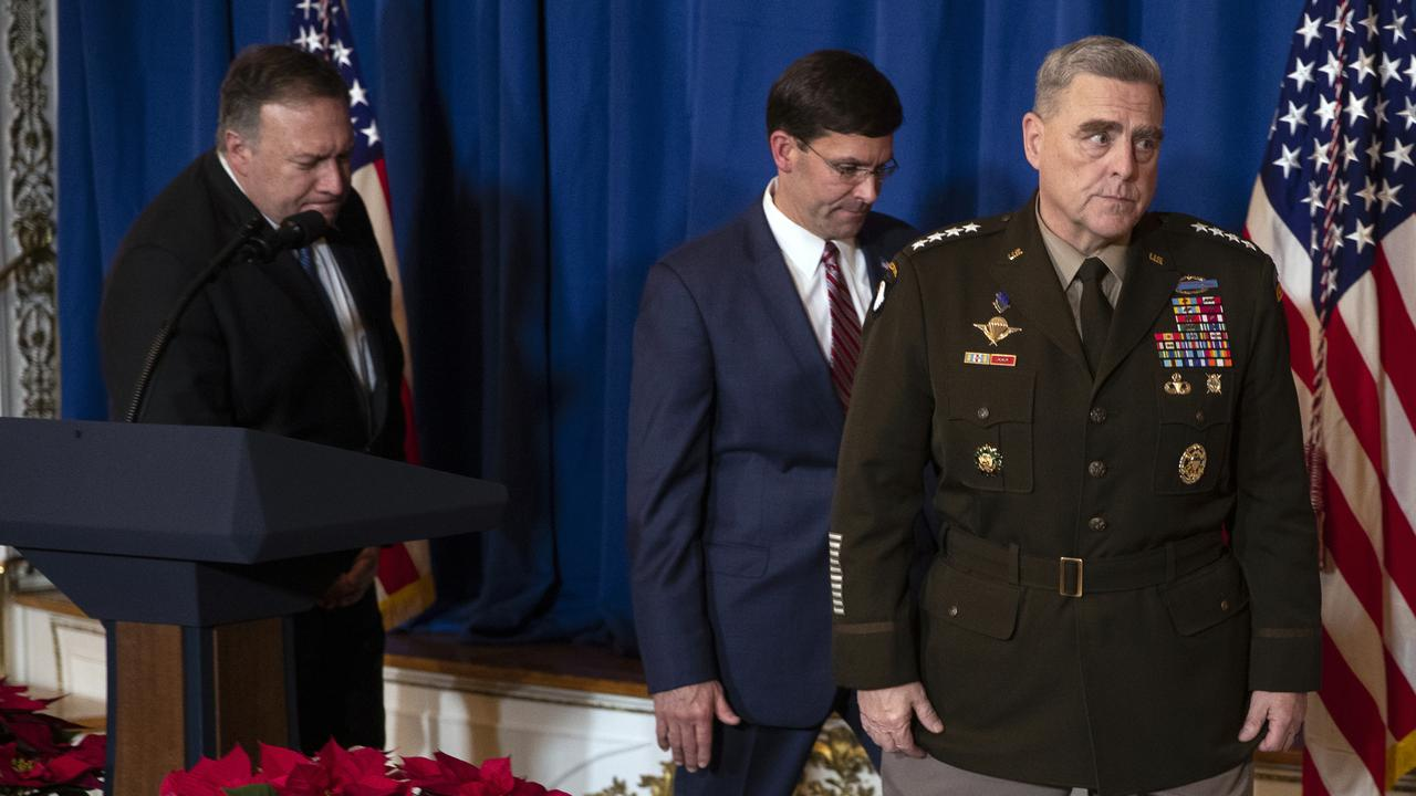 Secretary of State Mike Pompeo, Secretary of Defence Mark Esper and Chairman of the Joint Chiefs of Staff General Mark Milley speaking on December 29. Picture: AP