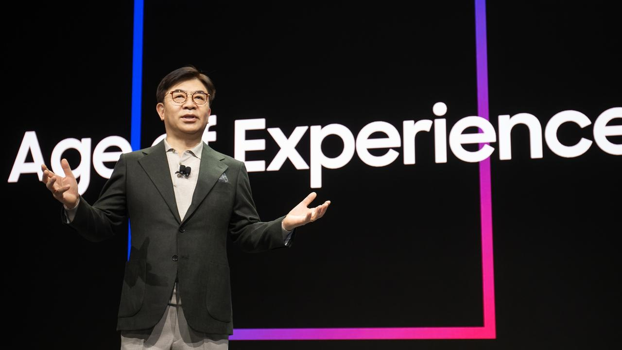 Samsung Consumer Electronics President and CEO H.S. Kim delivers the keynote speech at CES Las Vegas, 2020. Photo: Supplied