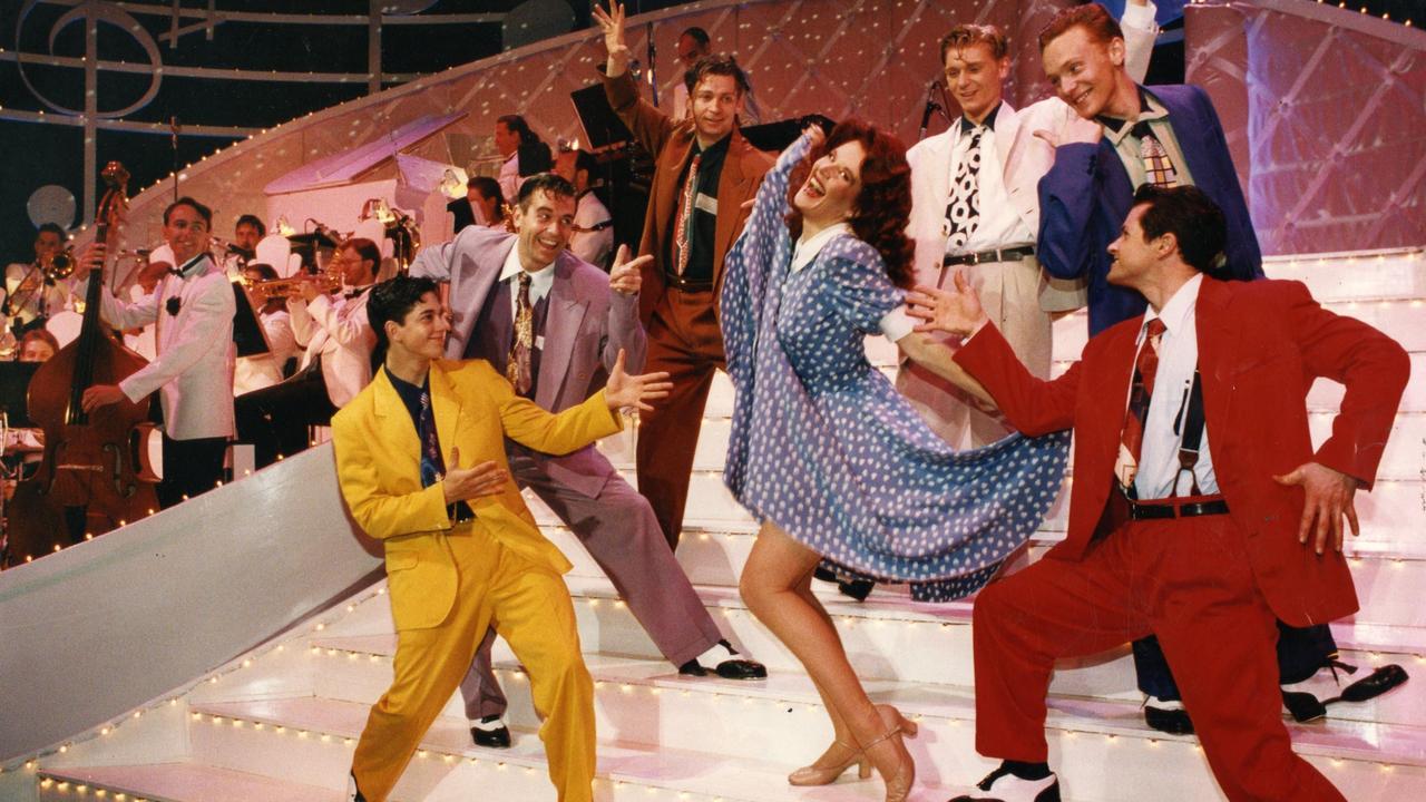 Rhonda Burchmore rehearsing Hot Shoe Shuffle in 1993.