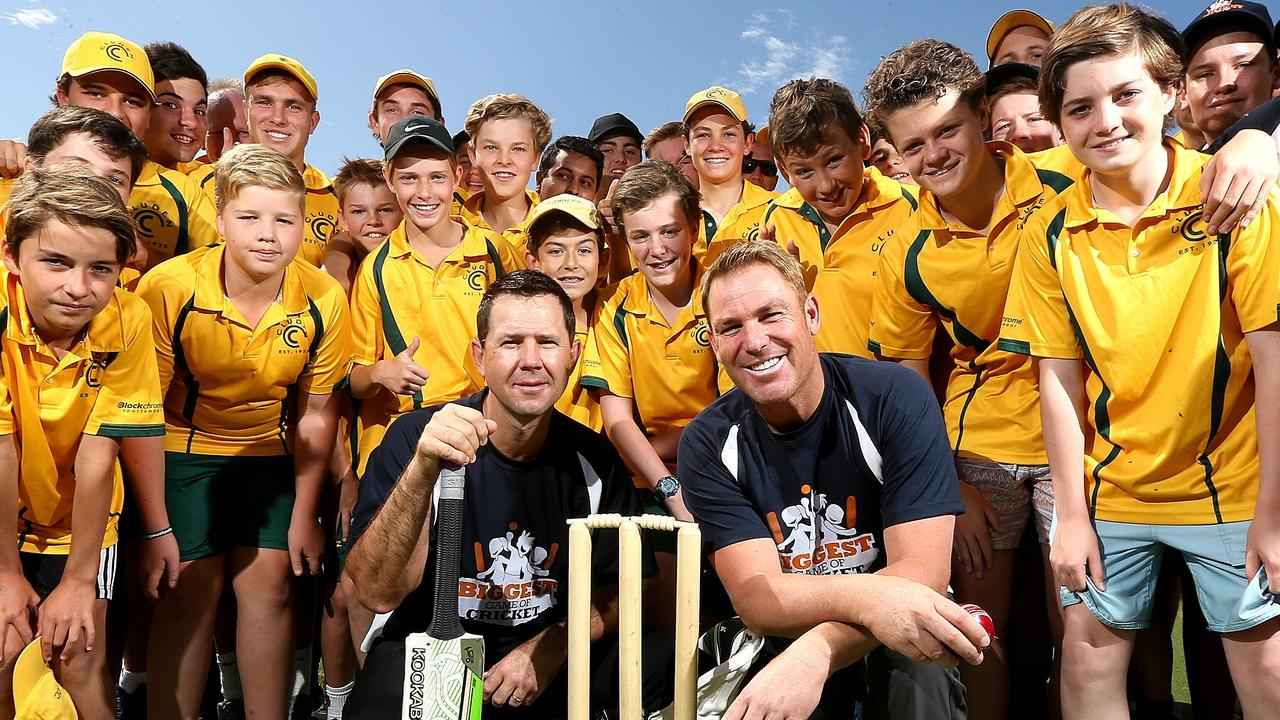 Ricky Ponting (left) and Shane Warne (right) held a charity game in 2015. Picture: Tim Carrafa