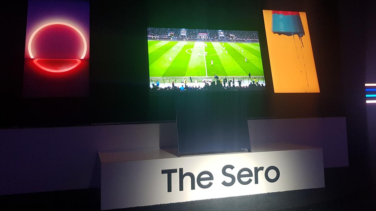 Samsung's rotating, vertical TV The Sero – unveiled at CES, Las Vegas. Photo: Tanya French
