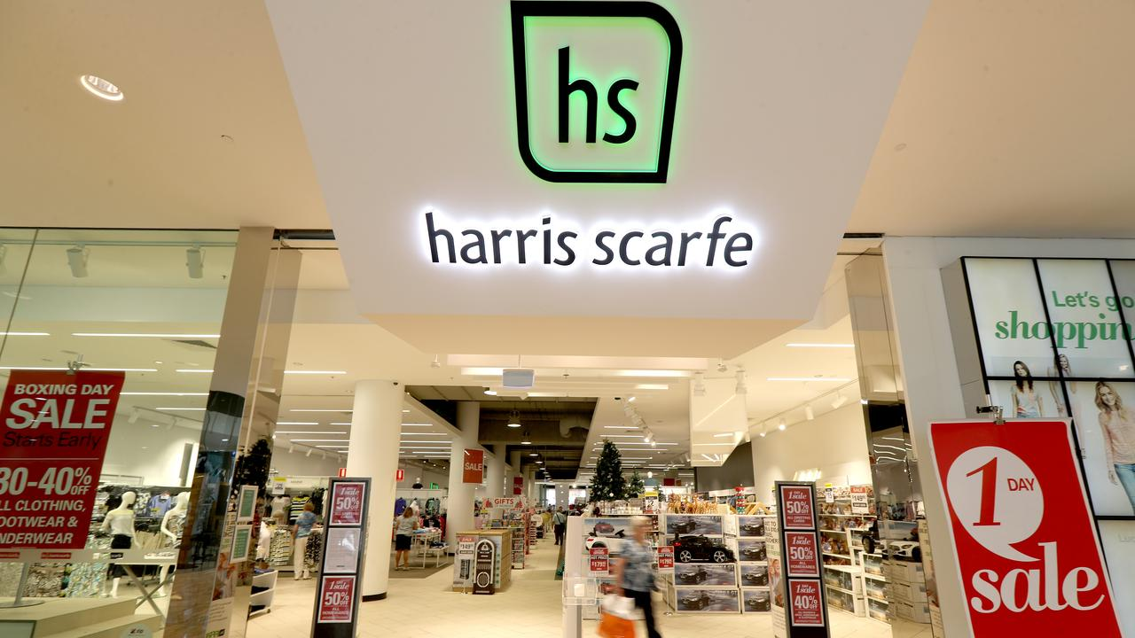 Harris Scarfe signage is seen in Rundle Mall, Adelaide, Wednesday, December 11, 2019. Historic department store chain Harris Scarfe has gone into receivership. (AAP Image/Kelly Barnes) NO ARCHIVING