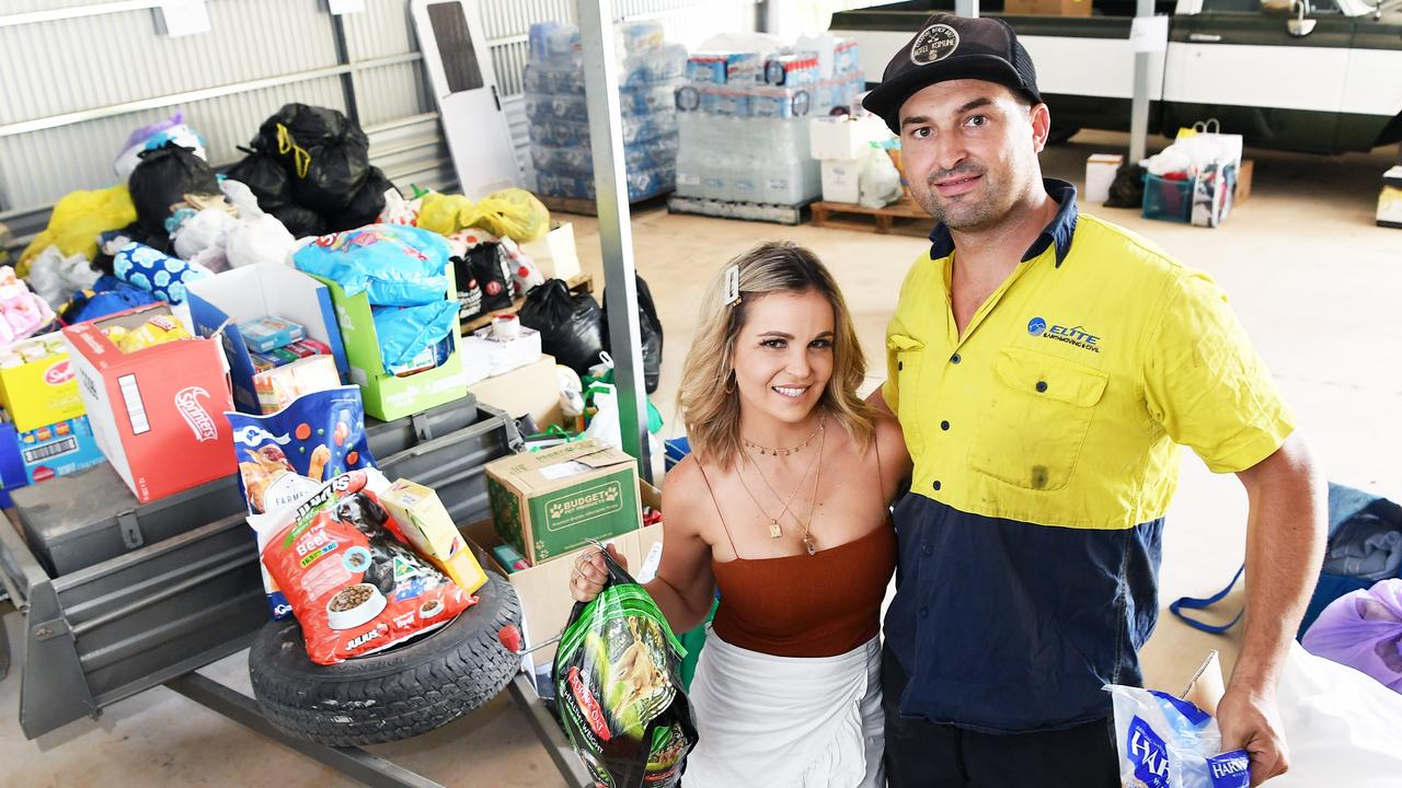 Matt and Zemma Butler of Mezz Trans Logistics at Tanawha have been overwhelmed by the generosity people have shown to help bushfire victims. Photo Patrick Woods / Sunshine Coast Daily.