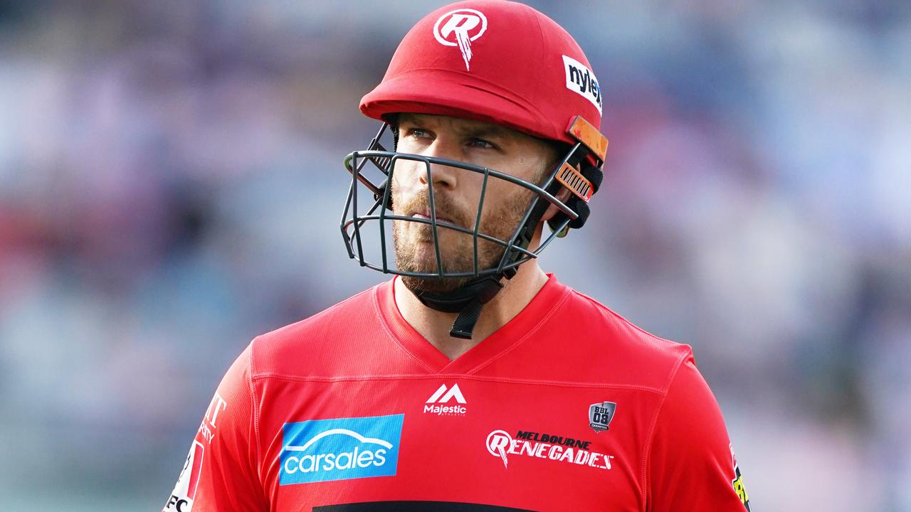 Aaron Finch of the Renegades looks dejected after dismissal during the Big Bash League (BBL) cricket match between Melbourne Renegades and Perth Scorchers at GMHBA Stadium in Geelong, Tuesday, January 7, 2020. (AAP Image/Michael Dodge) NO ARCHIVING, EDITORIAL USE ONLY, IMAGES TO BE USED FOR NEWS REPORTING PURPOSES ONLY, NO COMMERCIAL USE WHATSOEVER, NO USE IN BOOKS WITHOUT PRIOR WRITTEN CONSENT F