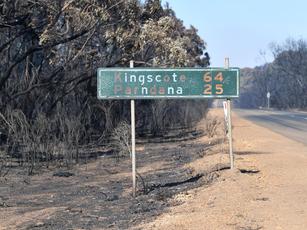 A general view of fire damage on Kangaroo Island.