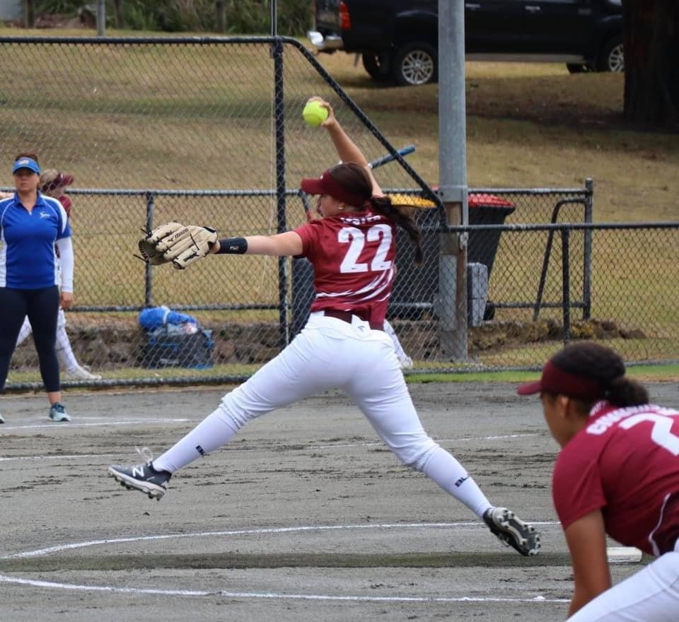 SOFTBALL CHAMPS: Kirsty Lester pitches again