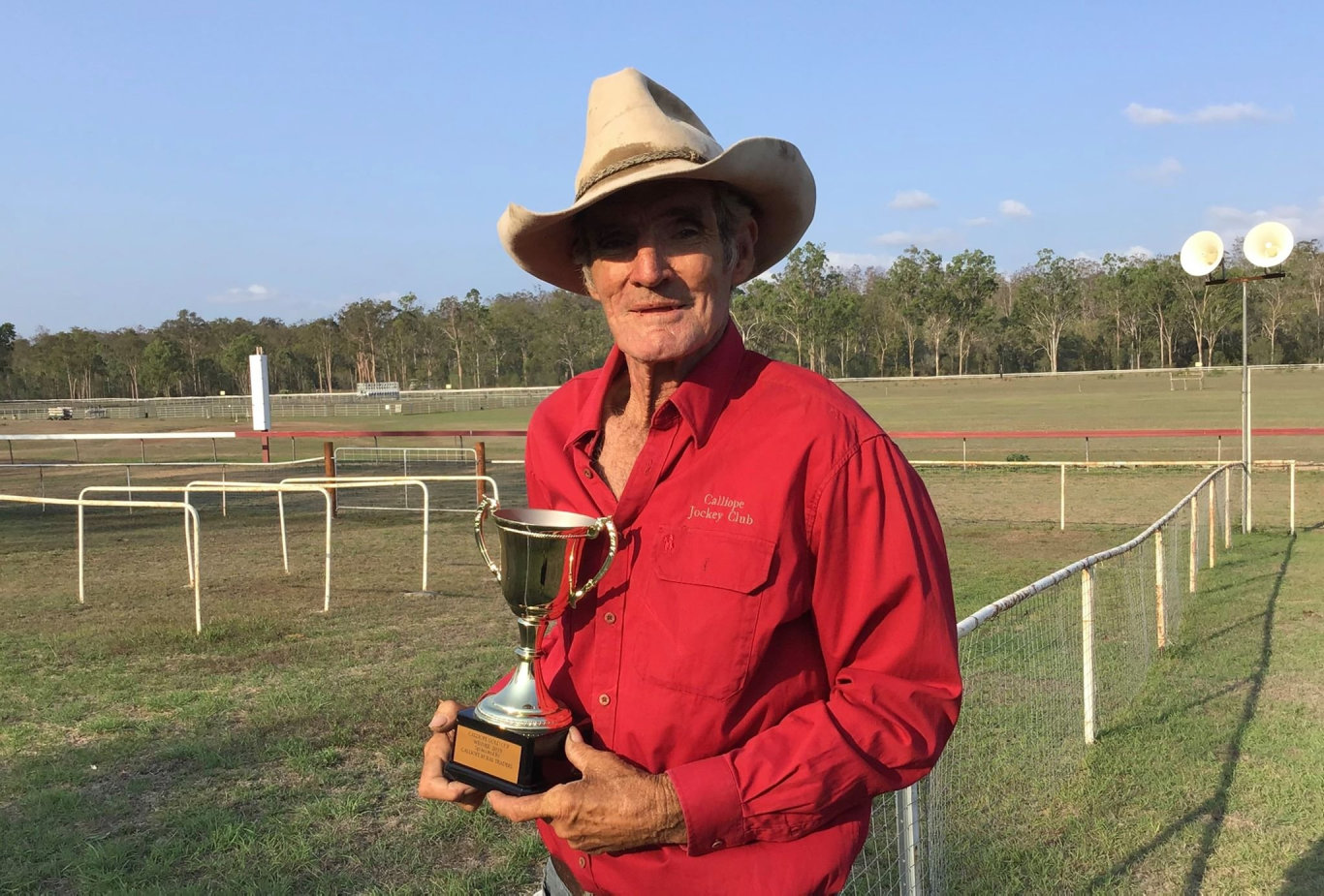 Calliope Jockey Club president Jim Neill-Ballantine with the famous Gold Cup.