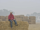 Ready, waiting: Burrumbuttock Hay Runners founder Brendan Farrell with hay that will go to drought or fire affected farmers.