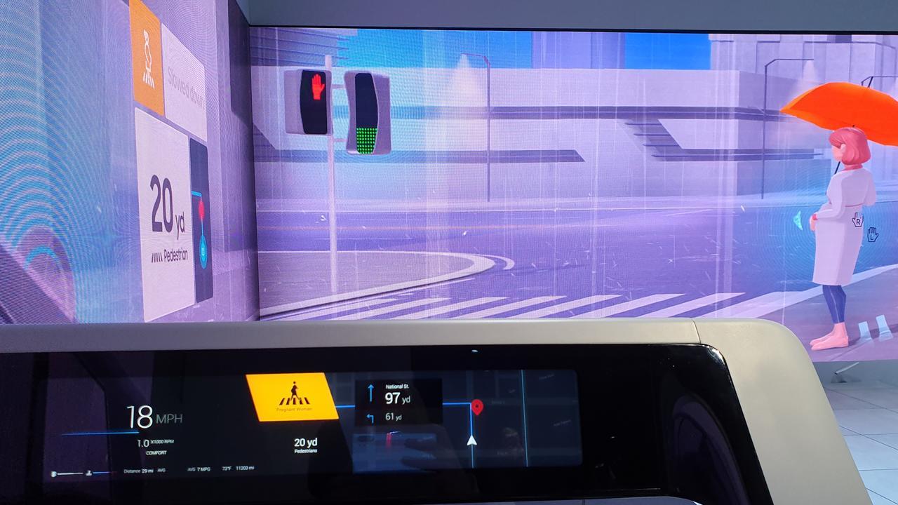 On-board Samsung's driverless car. Photo: Tanya French