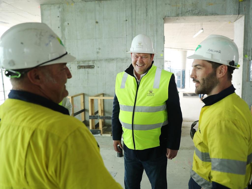 James Packer meets some of the workers on site. Picture: Rohan Kelly