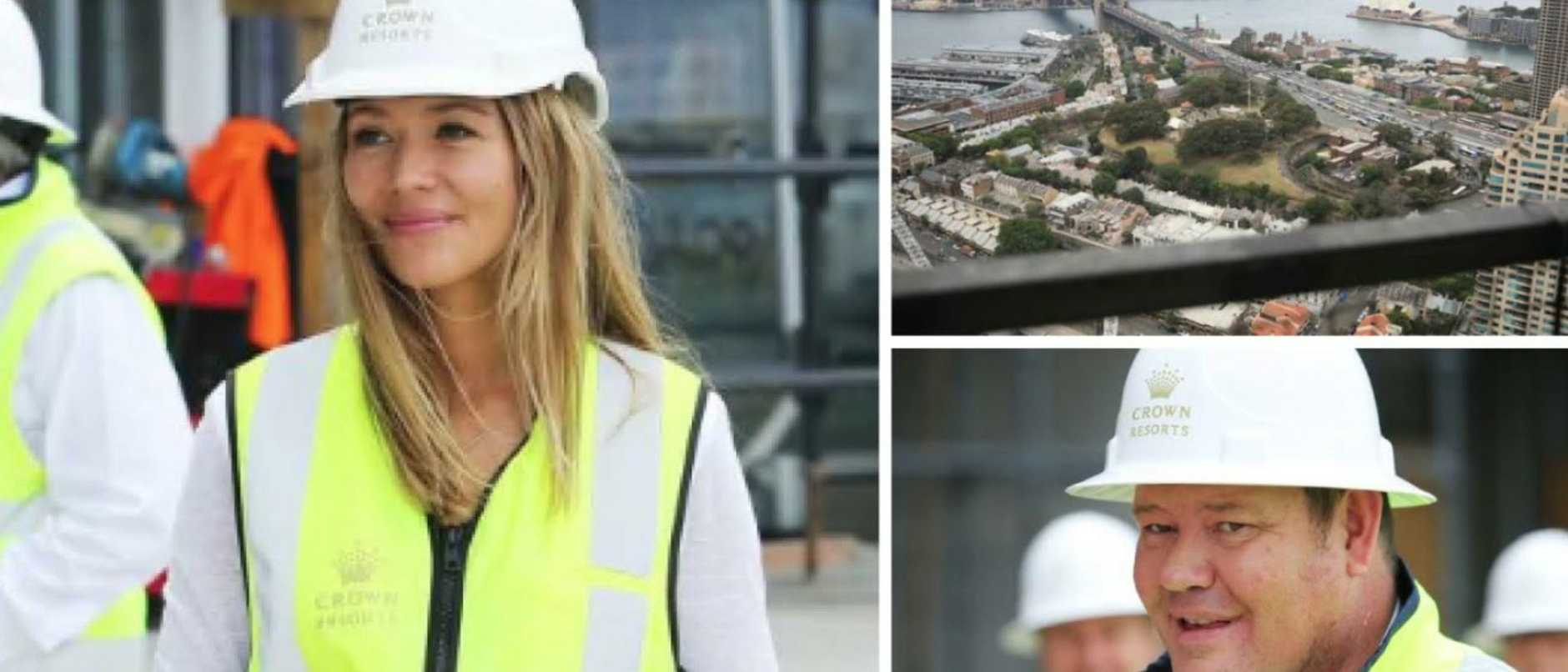 Crown's $2.4 billion Barangaroo project is ahead of schedule, owner James Packer has revealed as he made his first visit to the site with girlfriend Kylie Lim.