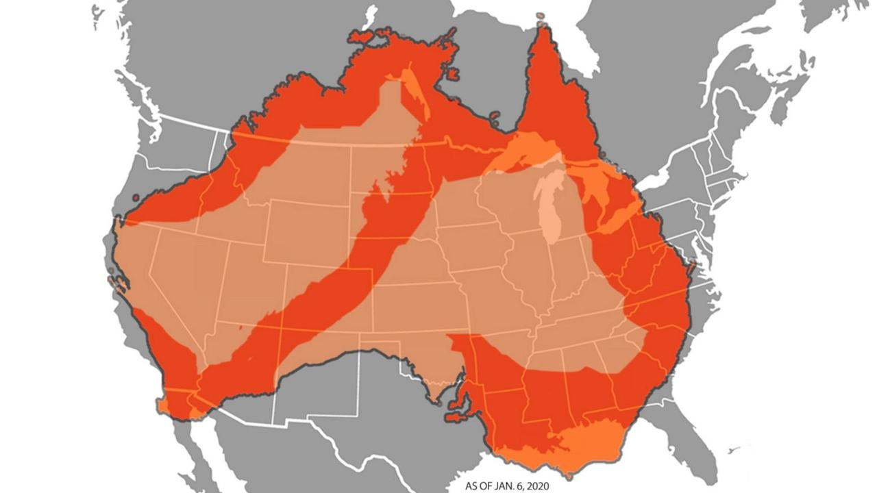 This map issued by ABC in the US provides a misleading image of Australia's fire crisis.