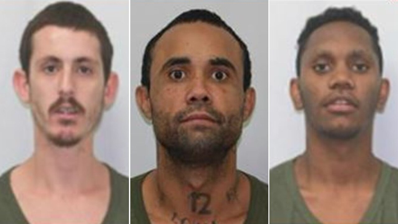 Prisoners who absconded from Townsville Correctional Centre's low security prison farm (from left) Anthony James Parkinson, Alex Leroy Ryan and Ethan Joseph Arona Kerr.
