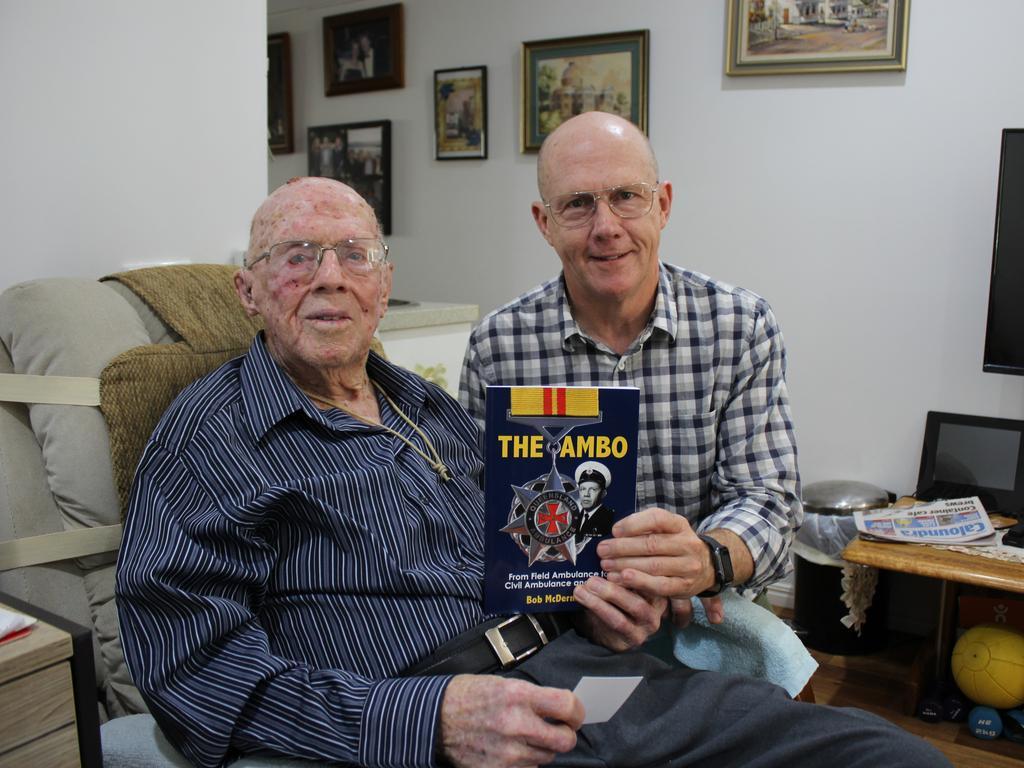 Ambo Bob author Bob McDermant and his son Greg.