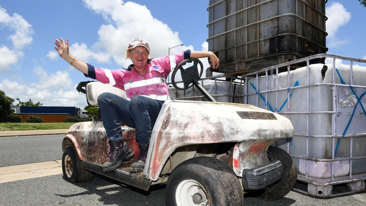 Return-it supervisor at the Incredable Tip Shop Rae Willson on a golf buggy that had been recently dropped off. Picture: Tony Martin