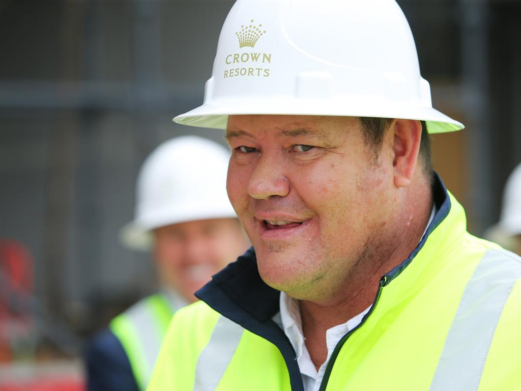 James Packer tours the Barangaroo Crown casino site for the first time. Picture: Rohan Kelly
