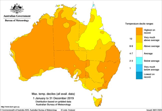 Maximum temperature deciles for Australia, January 1-December 31, 2019. Source: Bureau of Meteorology
