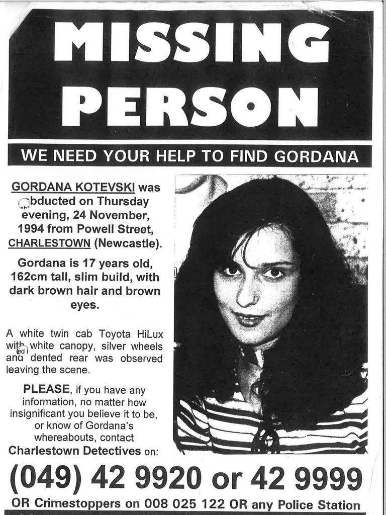 Gordana Kotevski disappeared in Charlestown in 1994. Picture: supplied
