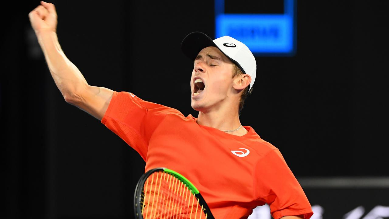 Alex de Minaur of Australia celebrates winning a point in his third round match against Rafael Nadal during day five of the 2019 Australian Open. Picture: Quinn Rooney/Getty Images.