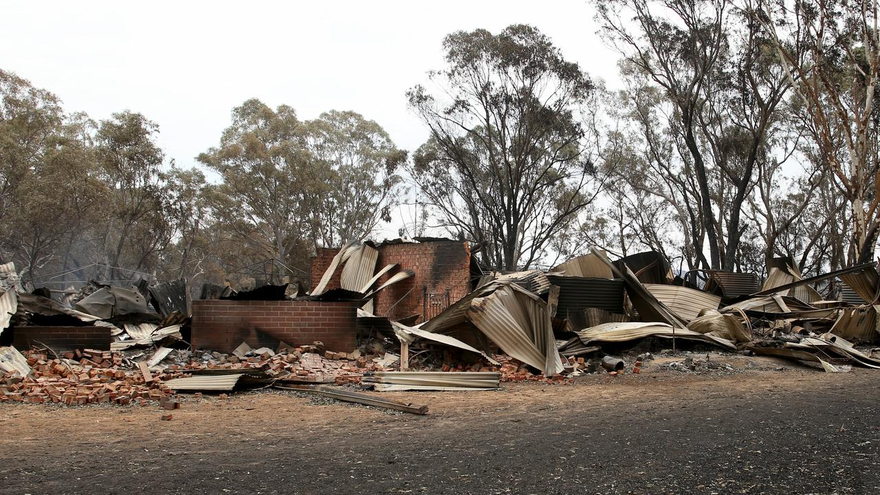 A destroyed home outside Woodside in Adelaide just before Christmas. Picture: AAP