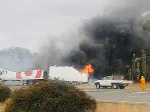 Target driver escapes from burning truck